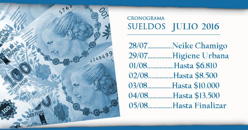 cronograma de pago municipal julio