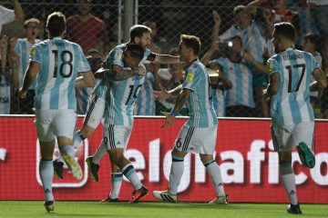 festejo de gol argentina messi
