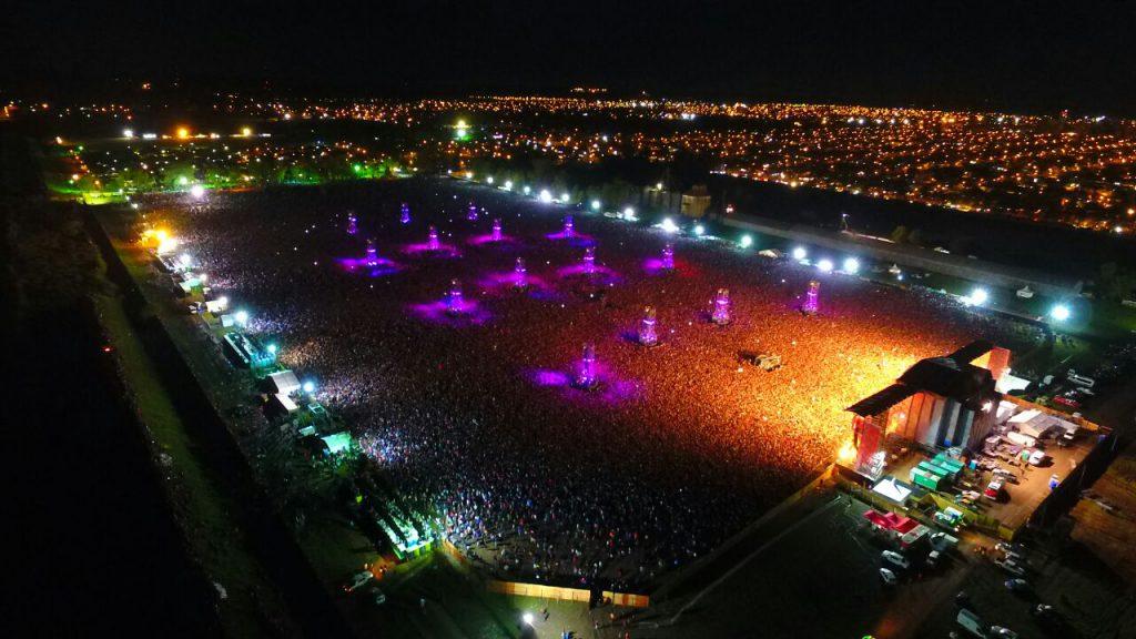 Vista panorámica del recital en Olavarría. Se cree que asistieron unas 300 mil personas.