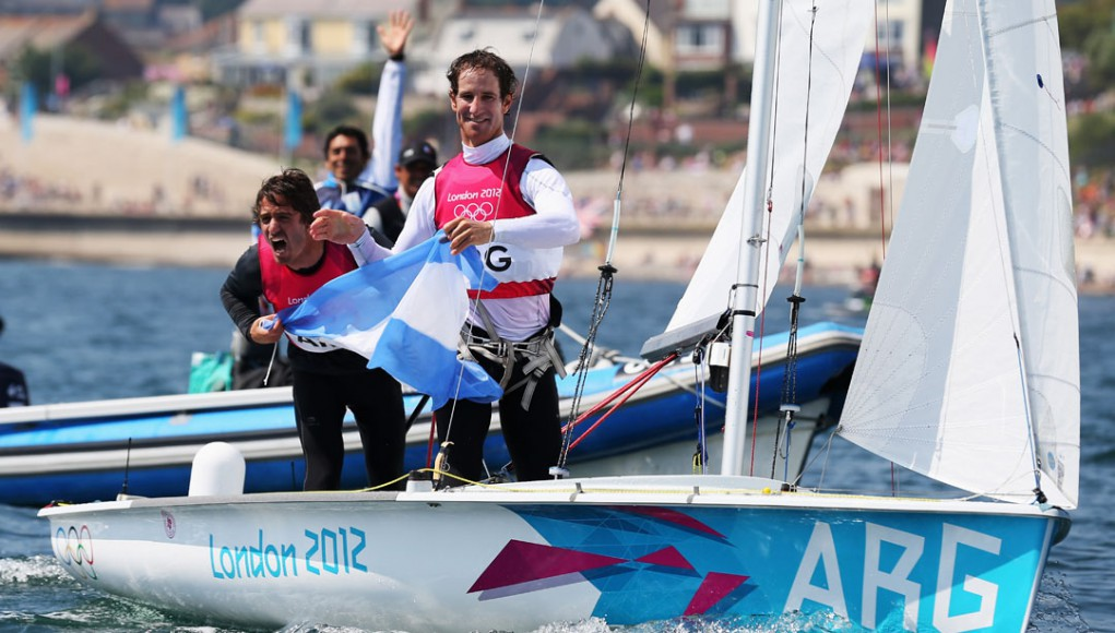 Lucas Calabrese y Juan De la Fuente festejando tras ganar la medalla de bronce en Londres 2012.